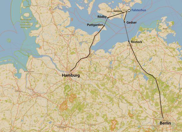 Karte Anreise zum Falsterhaus von Hamburg oder Berlin