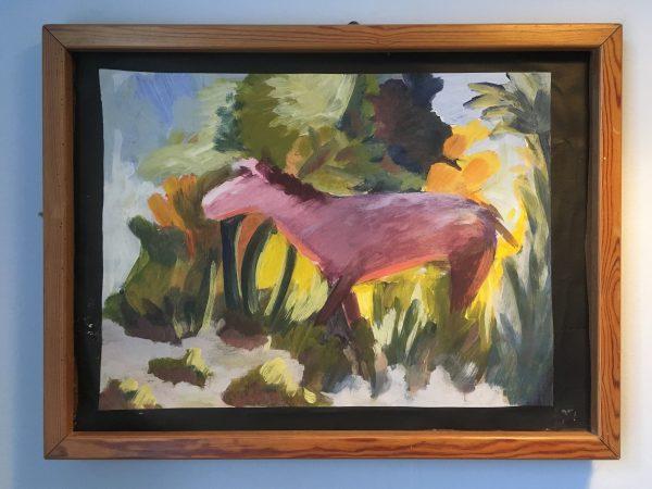 Ölbild Rosa Pony - im Hofzimmer