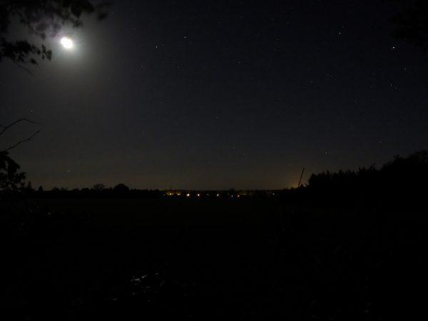 Sternenhimmel auf Falster. Blick nach Horbelev, 10.5. 2019