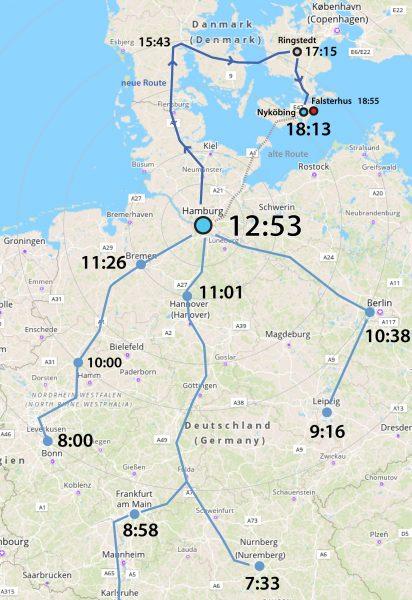 Anfahrt nach Nyköbing ab Hamburg um 10:53. Beispiel für einen Wochentag ab Dezember 2019
