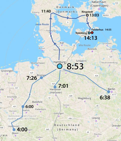 Anfahrt ab Hamburg um 8:53. Beispiel für einen Wochentag ab Dezember 2019