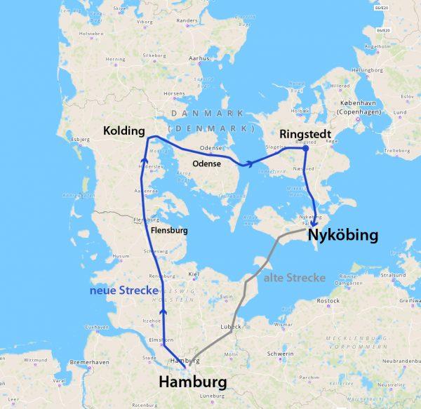 Karte. Mit der Bahn von Hamburg nach Nyköbing über Flensburg, Kolding, Odense, Ringstedt