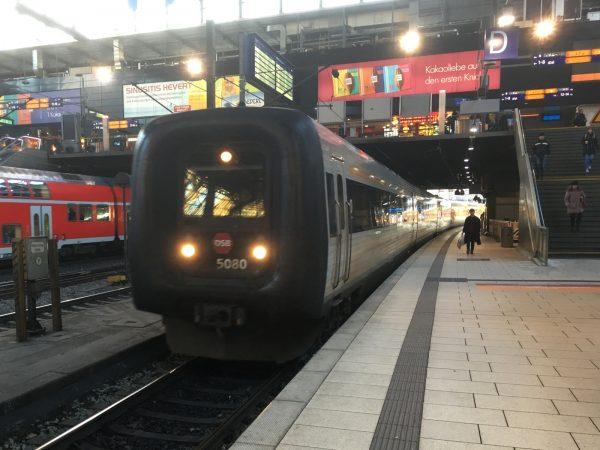 IC396 mit Ziel Kopenhagen fährt in den Hamburger Hauptbahnhof ein.