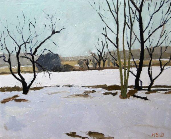 Falster Landschaft im Schnee. Ölgemälde von Helge Strufe